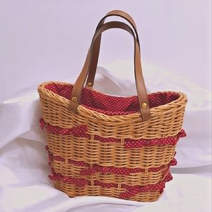 Vintage Wicker/Rattan Tote Basket-Bag